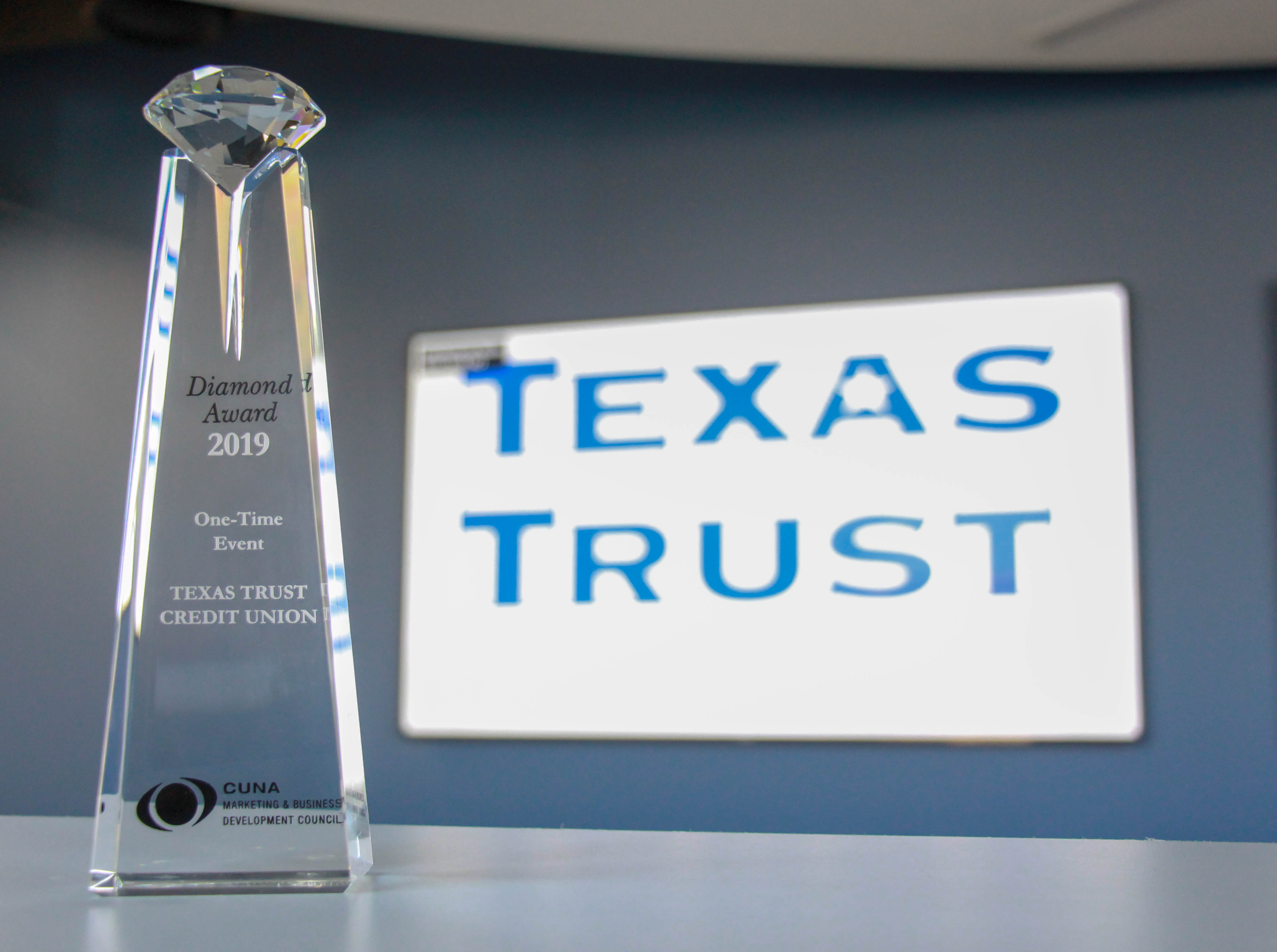 Texas Trust Credit Union receives 2019 Diamond Award for One-Time Event March 2019