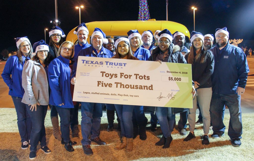 Texas Trust Credit Union Donates $5,000 to Toys for Tots 2019
