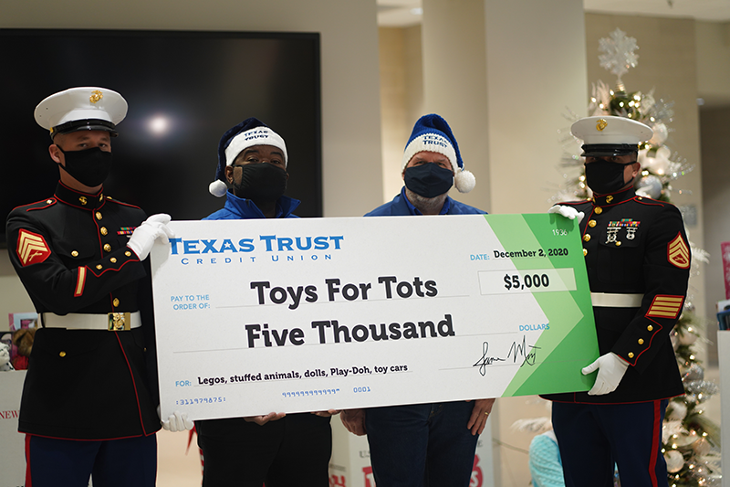 Toys For Tots donation from Texas Trust Credit Union