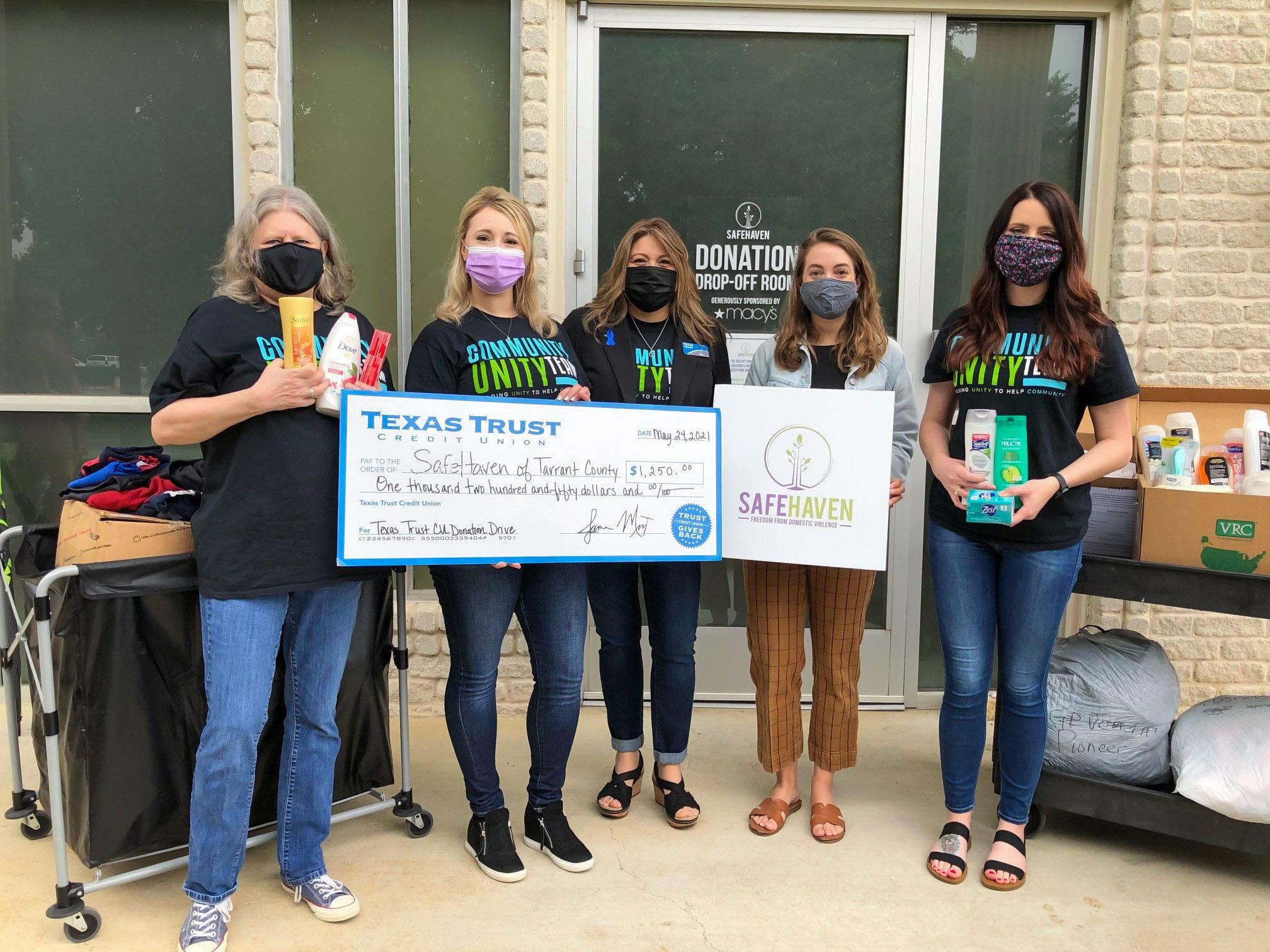 Texas Trust Credit Union's Community Unity Team donates to SafeHaven of Tarrant County