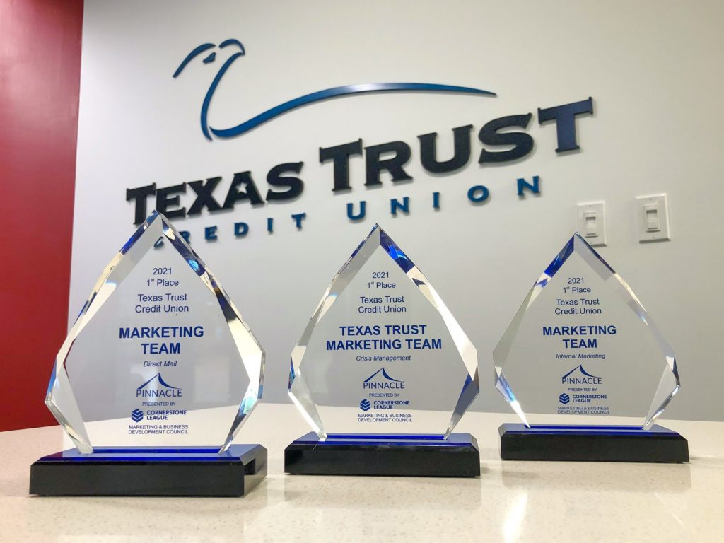 Texas Trust Credit Union receives three first-place Pinnacle Awards 2021